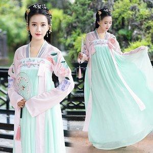 dinastia Tang Hanfu bordado saia corset estilo traje antigo étnica Costume National chiffon grande saia antiga performa estilo das mulheres