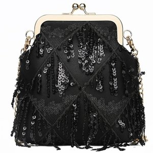 Designer-Fashion Mini Crossbody Shoulder Bag For Women Ladies Chic Sequins Evening Clutch Bag With Metal Chain Small Female Purse