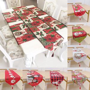 크리스마스 테이블 러너 33 * 180cm 폴리 에스테르면 혼합 산타 엘크 눈송이 식탁보 크리스마스 파티 호텔 주방 장식 DHD763