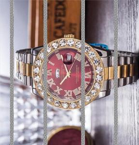 Супер хороший президент день Дата Унисекс Дизайнер Double Chronograph Big Алмазный камень Часы из нержавеющей стали Мужчины Женщины кварцевые часы