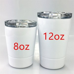 Botellas de acero 8 oz sublimación de los niños tazas de agua inoxidable dos pisos de los niños tazas portables botellas de deportes acuáticos con la paja taza de café A12