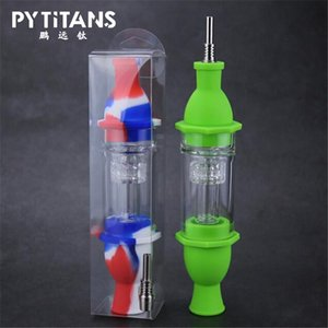 2020 Hot Sale Silicon Dab Straw Lighthouse Shape NC Acrylic Filter Smoking Pipe Colorful Smoking Bong with Titanium Nail Tip