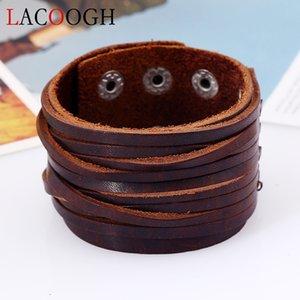 Lacoogh New Multi-layer Ethnic Punk Handmade Braid Bracelets for Men Women Alloy Retro Vintage Leather Brown Wrap Bracelets Male