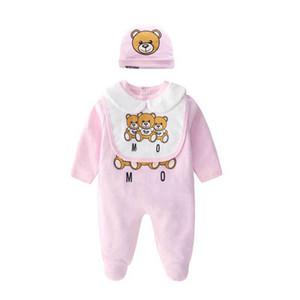 Kinder Designer Kleidung Jungen Brief Jumpsuit Neugeborenen Strampler Baby Infant Kleinkind Hut + Lätzchen + Robe Set Luxus Baby Mädchen Designer Kleidung