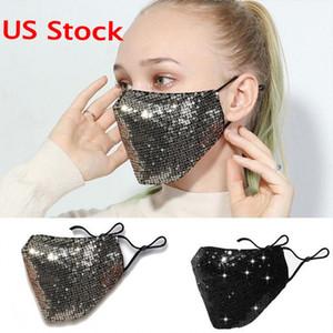 2021 Bling 3D Yıkanabilir Kullanımlık Maske PM2.5 Yüz Bakımı Kalkanı Güneş Renk Altın Dirsek Sequins Parlak Yüz Kapak Dağı Maskeleri Anti-Toz Ağız