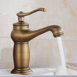 Baño grifo del final del bronce de latón antiguo grifo del lavabo del fregadero sola manija grifos de agua del mezclador de agua del grifo para cocina baño T200107