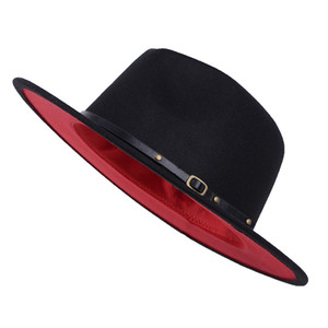Wholesale Unisex Flat Brim Wool Felt Fedora Hats with Belt Red Black Patchwork Jazz Formal Hat Panama Cap Trilby Chapeau for Men Women