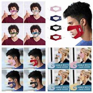 Máscara visible boca cara cubierta que aisla polvo reutilizable lavable cara de la tela escocesa Camo Máscara adultos sordos-mudos Máscaras de diseño transparente CYZ2644 300Pcs