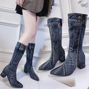 akexiya Donne Amazzoni Stivali da cowboy autunno / inverno Nuovo Chunky alto tacco da donna stivali del tutto-fiammifero donne