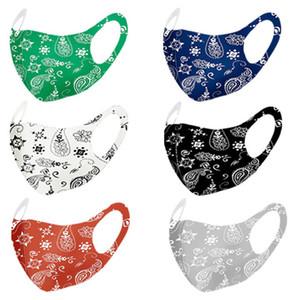 Mode Paisley passe-montagne masque 3D lavable réutilisable Masque PM2,5 Visage Soins pare-soleil de couleur d'or Elbow Paillettes Designer Face Party Masques