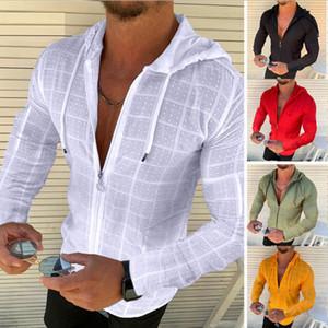 top uomini casual maglietta del manicotto lungo sottile del Tee jacquard Abbigliamento regalo per gli uomini maglietta bianca rosso verde magliette giallo nero