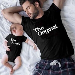 오리지널 리믹스 가족 매칭 의상 아빠 엄마 키즈 T 셔츠 베이비 바디 수트 가족 봐 아버지 아들 의류 아버지의 날 선물