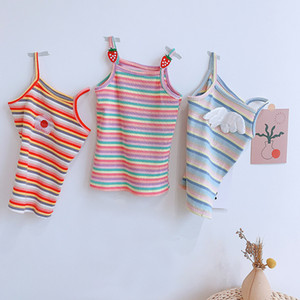 Crop For Kids Summer New Korean Girl'S Multicolor Cute Knitted Camisole Toddler Tank Top Baby Girls Clothes
