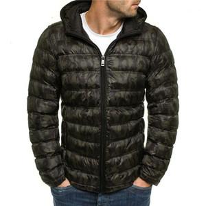 Rivestimenti di modo Panelled Zipper Mens con cappuccio in cotone imbottito giacche casual Maschi abiti scuri grano del progettista del Mens cotone imbottito