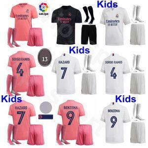 Jugend Real Madrid Kinder SERGIO RAMOS Fußball-Jersey-Socken-Set GEFAHR Varane RODRYGO VAZQUEZ JOVIC BALE BENZEMA MODRIC Fußball-Hemd-Kits
