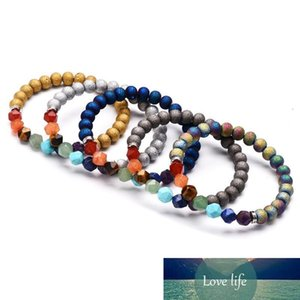 7 Чакра Йога Браслет Природный камень Cut поверхности энергии Кристалл браслет Агатовые бусы браслеты Мода женщин и мужчин, подарок ювелирных изделий