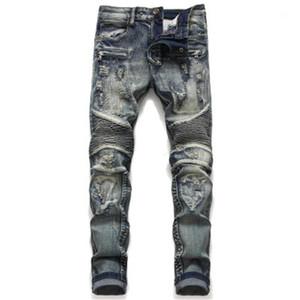 Zipper Straight Длинных джинсов Середина талия Очередной Промытый Stretch Мотоцикл Мужских джинсы Люди сплайсинг Дыра джинсы Мода Fold