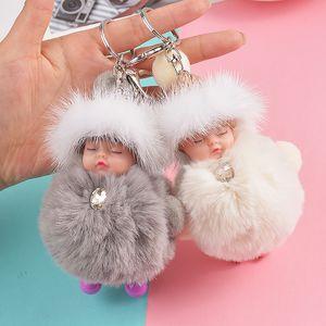 New Pompom Sleeping Baby Keychain Cute Fluffy Plush Doll Keychains Women Girl Bag Keyrings Cars Key Ring Jewelry Gift Porte Clef