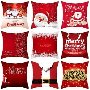 Noël Jeter Taie d'oreiller 45 * 45cm Joyeux Noël Père Noël bonhomme de neige Bells Elk Throw Taie Noël Canapé Décor BWA734