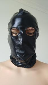 Brillant capot Lycra Costumes Zentai Hot Metallic Vente ouverte Halloween Party Mask Trous Cosplay Yeux Noir Xaixu