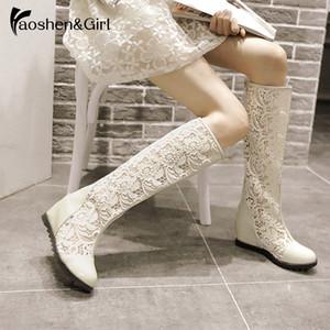 HaoshenGirl 2020 Femmes Cuissardes Bottes d'été Mesh Lace zippe Chaussures sexy creux-out style net Compensées Chaussures Talon Plus Size34-43