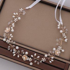 FORSEVEN cristallo fragile simulati Fasce Per Capelli Perle fasce del fiore del nastro sposa Noiva festa nuziale Accessori per capelli