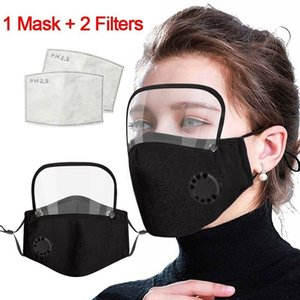 2 in 1 Valve Face Mask With Removable Eye Shield Dustproof Washable Full Face Protective Face Shield Designer Masks With 2 filters HWC3051