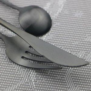 Western BlacK Gold Kitchen Dinnerware 20Pcs Fork Spoon Set Set 18 10 Stainless Steel Flatware Silverware1 Matte Knife Cutlery Sxedr