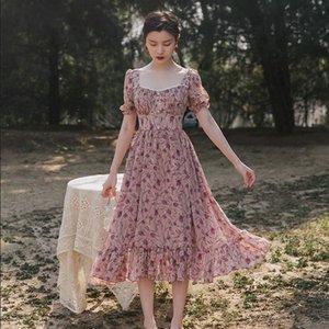 JGaSk CUnZD emagrecimento 2020 minoria Francês colar quadrado chiffon impresso fairy fairy Super Nacional Mori cintura temperamento Verão