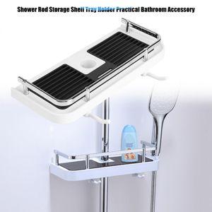 Practical Bathroom Pole Shower Storage Rack Holder Organizer Bathroom Shelves Shower Shampoo Tray Single Tier Shower Head Holder