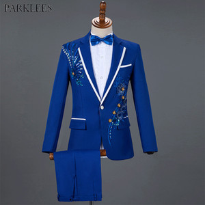 Royal Blue Sequin Embroidery Suit Men Wedding Groom Tuxedo Suits Pants Mens One Button Peak Lapel Stage Costume Traje Hombre 2XL 200922