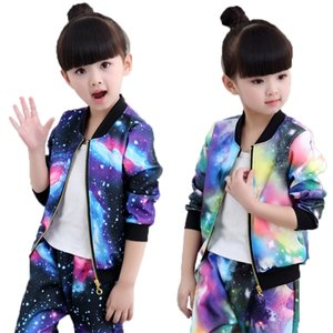 Autumn Girls Clothing Sets Children Zipper Coat And Pant Set Baby Girl Holiday Sports Suit Tracksuit Fashion Kids Clothes Set 0927