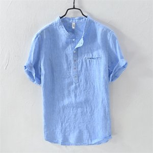 New Style Men's Summer T-shirts Linen round Neck Casual Loose Short Sleeve Cardigan Stand Collar 5527 0924