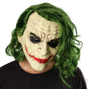 Joker Mask Halloween Latex Mask Movie It Chapter 2 Pennywise Cosplay Masks Horror Scary Clown Mask with Green Hair Party Costume Props XB51