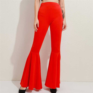 Women Wide Leg Trousers Ladies Elegant Solid Color High Waist Wide Leg Pants Women Bell Bottoms Flare Trousers For Female