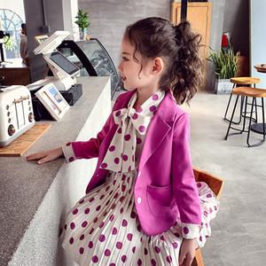 childrens clothing casual blazer+dot dress 2pcs girls clothes set suit 3-13 girls dress set Coat Double-breasted Princess Outwea X0923