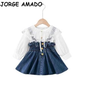 2020 Automne New Girl Ensembles bébé dentelle grand col chemise blanche + Denim Jupe bretelles Tenues enfants Vêtements E20131