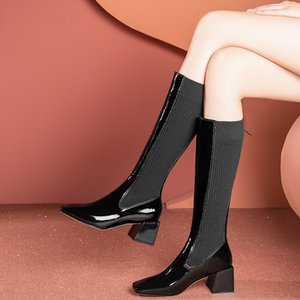 Sexy Fashion Black Knee High Boots Genuine Leather Female Comfortable Thick Heels Pumps Winter Party Prom Shoes Woman