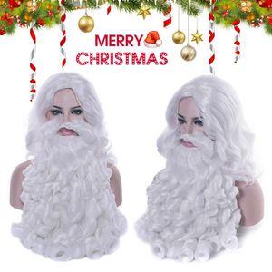 Navidad Peluca de la barba de Santa Claus barba blanca peluca rizada larga sintética adulto de Cosplay Regalo de Navidad del traje de pelo Juegos de rol