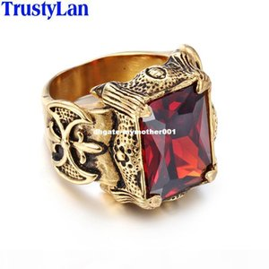dhgate Vintage Gold Color Men Jewelry Stainless Steel With Big Red Green Purple CZ Stone Ring Men Punk Rock Mens Rings Anel