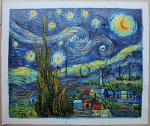 """Wholesale! Free Shipping! Reproduction 100% Handmade Oil Painting on Canvas Vincent Van Gogh -Starry Night 20x24"""" oLo PV002"""