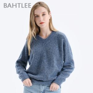 BAHTLEE Donne Mohair breve pullover con scollo a V Maglia a maniche lunghe Autunno Inverno maglia di lana Jumper allentato Stile