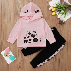 Baby Girls 3-24M Pink colour Dots Print Long Sleeve Hooded top and black pants children 2pcs outfits clothes set