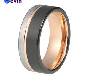 Mens Womens Wedding Band Tungsten Carbide Ring Black Rose Gold With Offset Groove And Brush Finish00