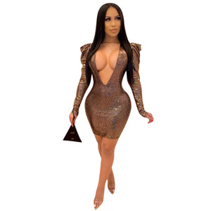 Femmes Deep V Robe Skinny Robe à manches longues Pick Hip Baldy Robes Dames Sexy NightClub Vêtements