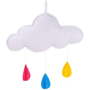 1pc Exquisite Cloud Adornment Felt Raindrop Ornaments Wall Hanging Pendant for Room Decor- Size M(White)