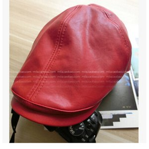 Korean literary style British style simple all-match leather peaked cap newsboy painter Pointed top painter hat hua jia mao hua jia mao hat