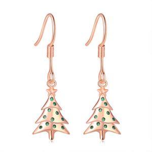 1Pairs of Christmas Earrings Fashion Creative Christmas Tree Stud Earrings Jewelry Girl Gift Charm Long Christmas Earrings