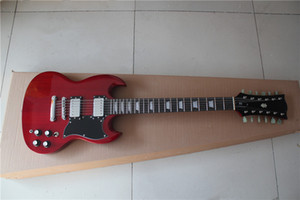 free shipping custom 12 string guitar,red SG guitar,LP pickups,mahogany body neck,chrome hardware,rosewood fingerboard with white shell inla