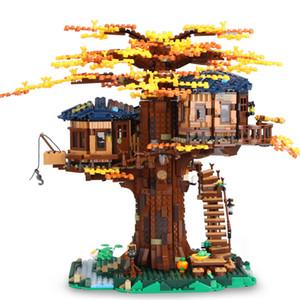 SX6007 아이디어 트리 하우스 모델은 21318 호환 선물 노랑 / 녹색 잎 빌딩 블록 3117pcs 벽돌 아이 장난감을 포함